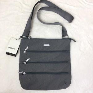 Baggallini Slim Zipper Crossbody Grey NWT